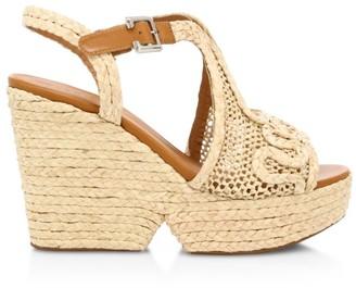 Clergerie Doloria Peep-Toe Raffia Wedge Sandals