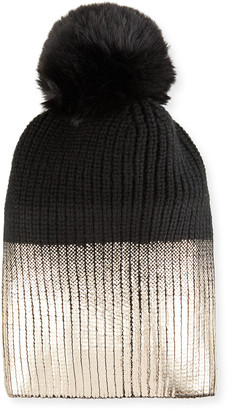 Jocelyn Metallic Knit Beanie with Faux Fur Pompom