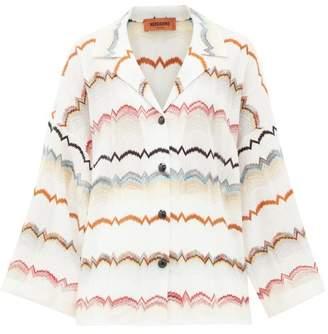 Missoni Zigzag Striped Crochet-knit Shirt - Womens - White Multi