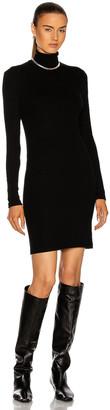 Enza Costa Tencel Cashmere Rib Long Sleeve Zip Turtleneck Mini Dress in Black | FWRD