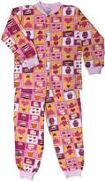 Snoozers Glitter Tea Party Print Cotton Flannel Pajama Set (7/8)