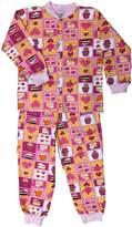 Snoozers Glitter Tea Party Print Cotton Flannel Pajama Set