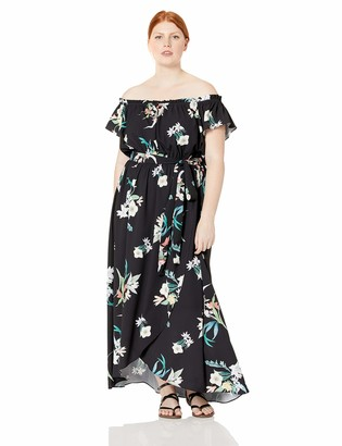 City Chic Women's Apparel Women's Plus Size Off-The-Shoulder Dress in Floral Print