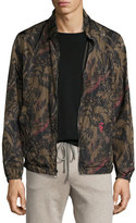 Salvatore Ferragamo Foliage-Print to Black Reversible Blouson Jacket, Military Green/Black