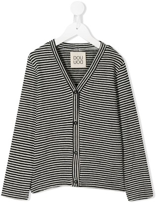 Douuod Kids Striped Knitted Cardigan