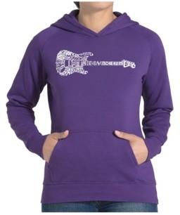 LA Pop Art Women's Word Art Hooded Sweatshirt -Rock Guitar