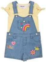 Little Lass Toddler Girl Print Tee & Patch Denim Shortalls Set