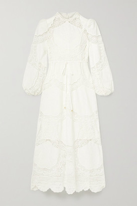 Zimmermann Bonita Crochet-paneled Embroidered Linen And Cotton-blend Midi Dress - White