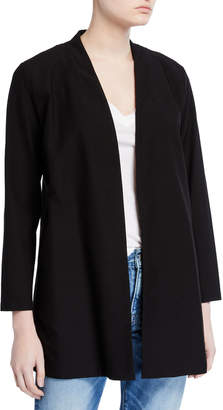 Eileen Fisher Washable Crepe Button-Front Bracelet-Sleeve Jacket