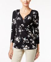 Charter Club Floral-Print Faux-Wrap Top, Only at Macy's
