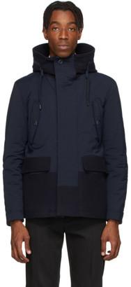 Herno Navy Wool Mixed Media Short Jacket