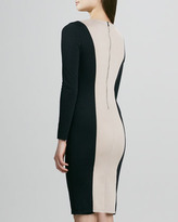 Alice + Olivia Amena Long-Sleeve Bicolor Sheath Dress