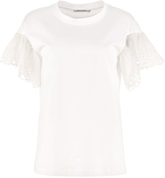 Alberta Ferretti Organza Sleeves Cotton T-shirt