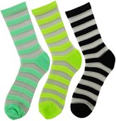 Koolfree Women Transparent Sheer Ankle High Crew Sock, Strip pattern, 3 pairs