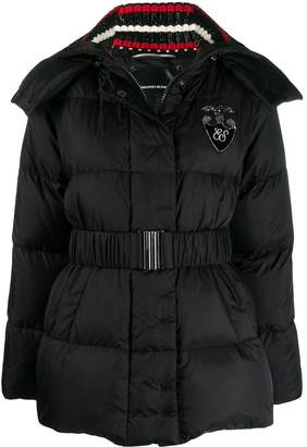Ermanno Scervino hooded knit collar down jacket