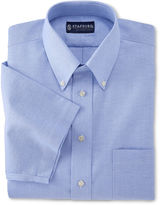 JCPenney Stafford Travel Short-Sleeve Wrinkle-Free Oxford Shirt-Big & Tall