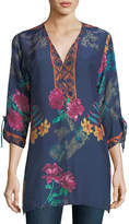 Johnny Was Cavalan Floral-Print Georgette Blouse, Plus Size