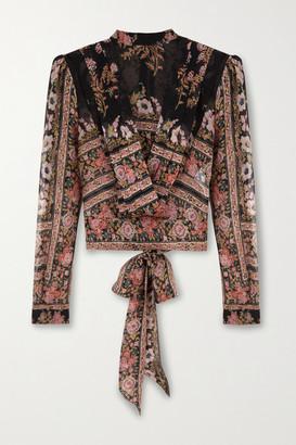 Etro Draped Floral-print Silk-crepon Blouse - Black