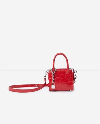 The Kooples Ming red crocodile-print nano bag