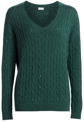 Brunello Cucinelli Cashmere & Silk Paillette Cable Knit Sweater
