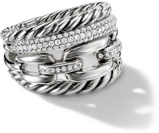 David Yurman Wellesley Link Four-Row Ring with Diamonds, 16.5mm