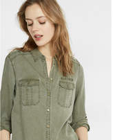 Express silky soft twill military boyfriend shirt