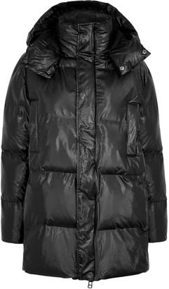 Rains Black Quilted Shell Coat