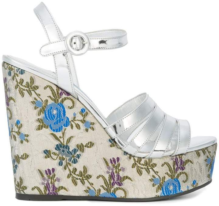 Prada floral print wedge sandals