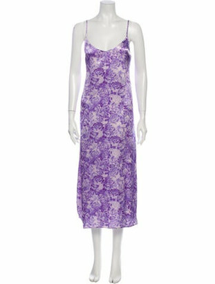 Ganni Floral Print Knee-Length Dress Purple