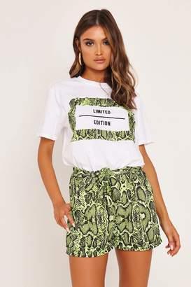 I SAW IT FIRST Neon Green Green Snake Print Tie Waist Short
