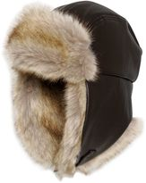 Armani Junior Faux Leather & Faux Fur Hat