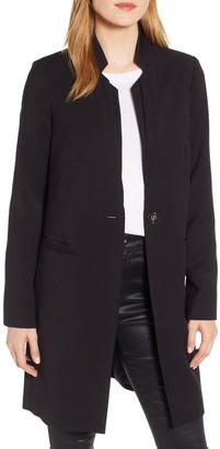 Kenneth Cole New York Inverted Collar Ponte Coat