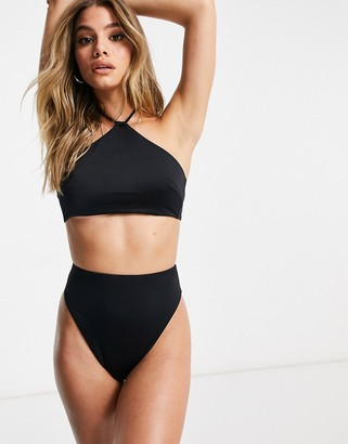 ASOS DESIGN recycled mix and match high neck tie back bikini top in black