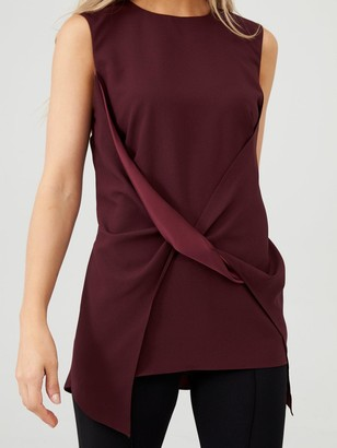 Very Twist Front Satin Back Blouse - Berry