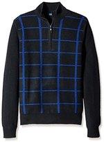 Thirty Five Kent Men's Plaid Cashmere Quarter Zip Sweater