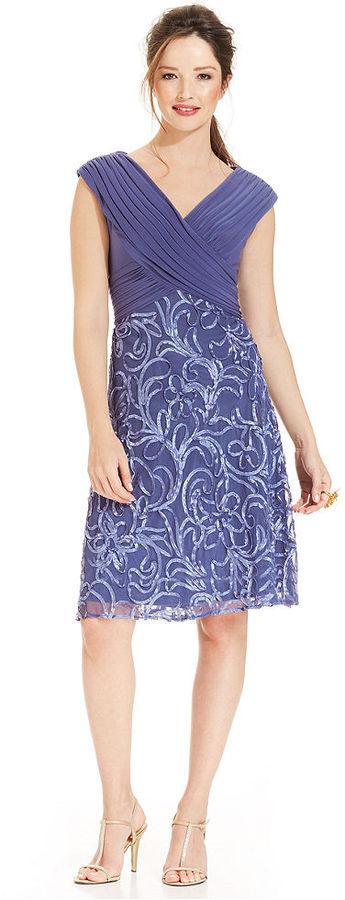 Patra Cap-Sleeve V-Neck Soutache Dress