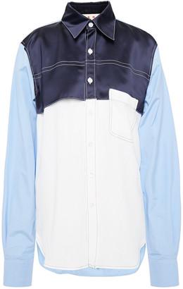 Marni Color-block Satin, Crepe De Chine And Poplin Shirt