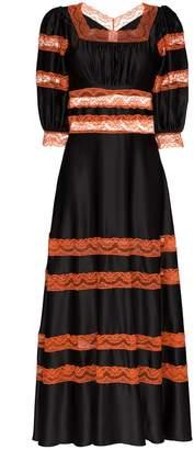 Shrimps Cressida lace-panel silk dress