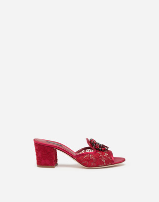 Dolce & Gabbana Taormina Lace Mules With Crystal Brooch