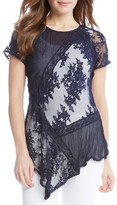 Karen Kane Women's Mix Lace Panel Top