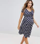 Bluebelle Maternity Wrap Midi Dress With Tie Waist With Polka Dot Print