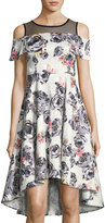 Neiman Marcus Cold-Shoulder Floral-Print Dress