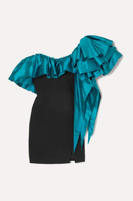 Rasario One-shoulder Ruffled Shantung And Crepe Mini Dress - Turquoise