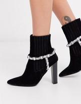 Asos Design DESIGN Emerson embellished western boots in black velvet