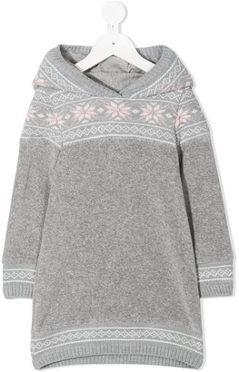 Lapin House Intarsia-Knit Hooded Dresses