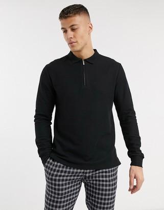 Topman long sleeve half zip polo in black