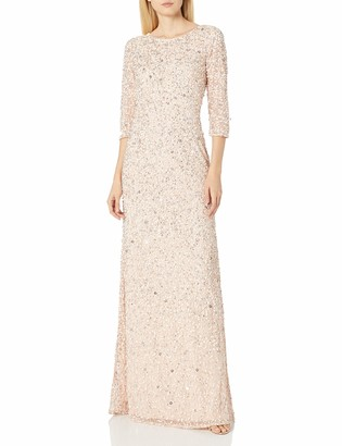 Adrianna Papell Women's 3/4 Sleeve Beaded Mermaid Gown