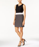 Kensie Lace-Trim Contrast Shirtdress