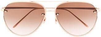 Linda Farrow Oversized Aviator Sunglasses
