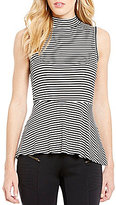 I.N. San Francisco Striped Mock Neck Peplum Top